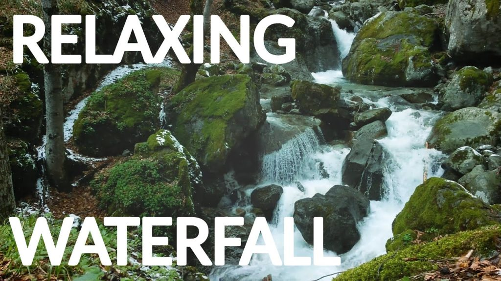 Relaxing waterfall stream and snow. One hour of calming Nature Sounds with white noise for sleeping